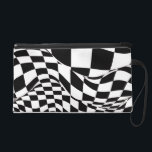 "Wristlet - Mini-Purse - Modified Checkered Flag<br><div class=""desc"">It's not your ""standard"" checkered flag -- but it's a winner! Graphic black and white ""checks"" have been stretched and warped, undulated and skewed, giving a feeling of depth and movement to this marvelous design. The fact that it is a little reminiscent of the checkered flag makes this little bag...</div>"