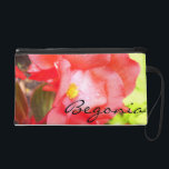 "Wristlet - Mini-Purse - Red &quot;Begonia&quot;<br><div class=""desc"">It&#39;s interesting to note that the floriography of begonias is, &quot;Beware, I am fanciful.&quot; This stunning clutch is nothing short of fantastic! A close-up and personal picture of a fabulous, red begonia right after the rain. Tiny rain drops cling tenaciously to the petals as the reappearance of the sun turns...</div>"