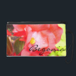 """Wristlet - Mini-Purse - Red &quot;Begonia&quot;<br><div class=""""desc"""">It&#39;s interesting to note that the floriography of begonias is, &quot;Beware, I am fanciful.&quot; This stunning clutch is nothing short of fantastic! A close-up and personal picture of a fabulous, red begonia right after the rain. Tiny rain drops cling tenaciously to the petals as the reappearance of the sun turns...</div>"""