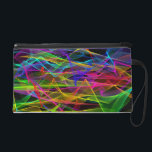"""Wristlet - Mini-Purse - Ribbons of Light (Night)<br><div class=""""desc"""">Like undulating ribbons in neon greens and purples; electric blues and aquas; hot pinks and reds; fluorescent oranges and yellows -- all transparent and twisting and overlapping in a pattern reminiscent of beams from multicolored lasers. This stunning design is especially striking on a black backdrop, but you are welcome to...</div>"""
