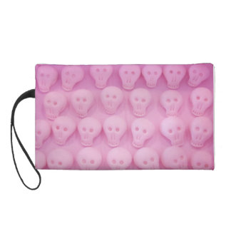 Wristlet Small Purse with Pink Skulls Design