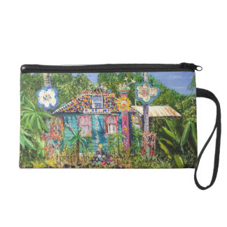 Wristlet with 2 Bowling Ball House Paintings