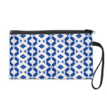 Wristlet with Deep Blue and White Diamond Abstract
