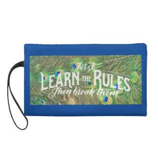 wristlet with photo of peacock feathers & saying
