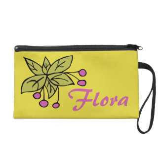Wristlet with Pink Berries and Name