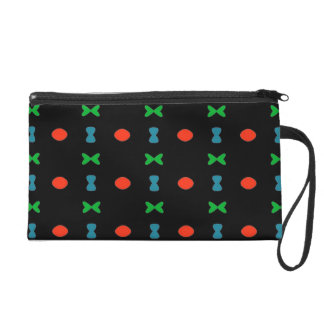 Wristlet with Sweet Pattern on Black Background