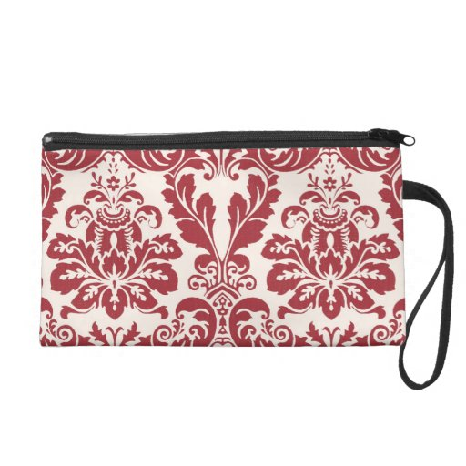 Wristlet zipper bag...red and white damask