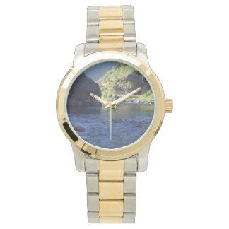 wristwatch featuring Idaho river scene.
