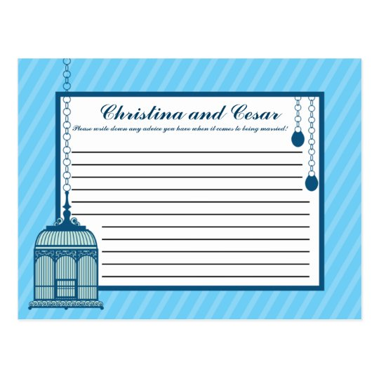 Writable Advice Card Birdcage/Blue Stripes cage