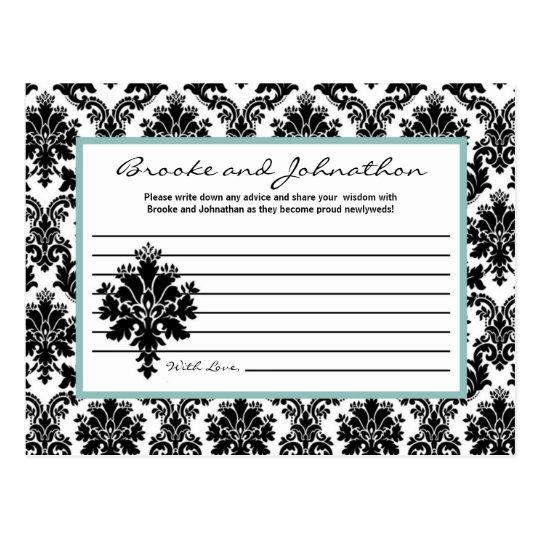 Writable Advice Card Black Damask Lace