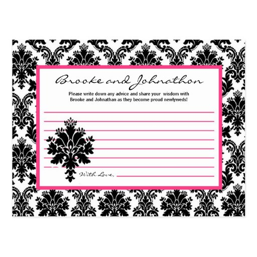 Writable Advice Card Black Hot Pink Damask Lace Postcard