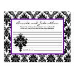 Writable Advice Card Black Purple Damask Lace Postcards