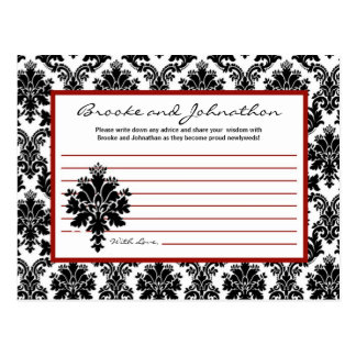 Writable Advice Card Black Red Damask Lace