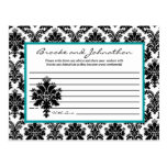 Writable Advice Card Black Teal Damask Lace Postcards