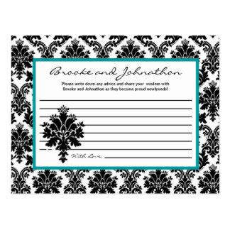 Writable Advice Card Black Teal Damask Lace Postcards