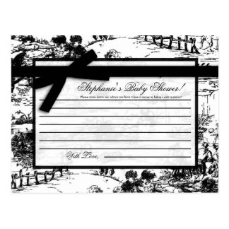 Writable Advice Card Black Toile Fabric Print Postcard