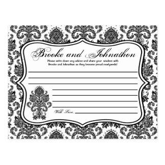 Writable Advice Card Black White Damask Lace Print Postcard