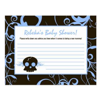 Writable Advice Card Boy Blue Punk Roc Skull Flame Postcard