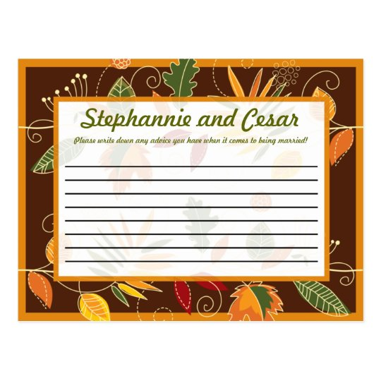 Writable Advice Card Fall Foliage Leaves