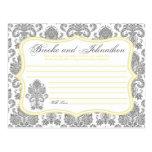 Writable Advice Card Gray Yellow Damask Lace Print