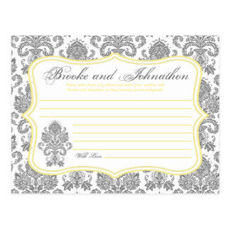 Writable Advice Card Gray Yellow Damask Lace Print