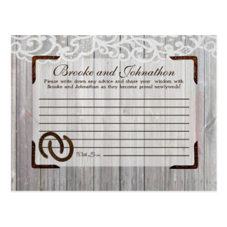 Writable Advice Card Horse Shoes on Wood Lace