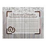 Writable Advice Card Horse Shoes on Wood Lace Post Cards