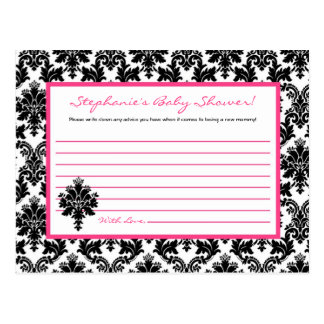Writable Advice Card Hot Pink Black Damask