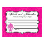 Writable Advice Card Hot Pink Damask Lace Print Post Cards