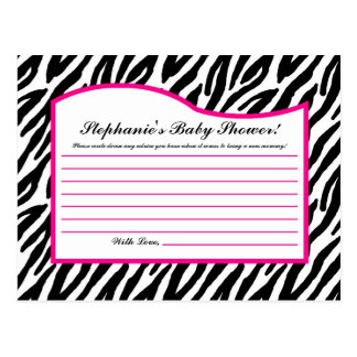 Writable Advice Card Hot Pink Zebra Animal Print