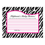 Writable Advice Card Hot Pink Zebra Animal Print Post Cards