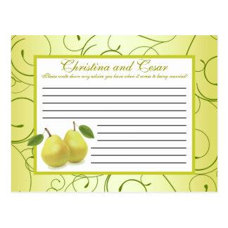 Writable Advice Card Lime Green Pear Swirls
