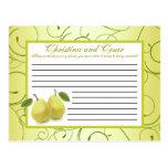 Writable Advice Card Lime Green Pear Swirls Postcard