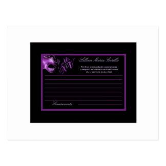 Writable Advice Card Mis XV Purple Lilac Black Postcard