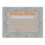 Writable Advice Card Modern Gray Damask Lace Print Postcard