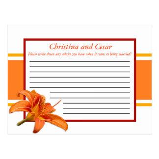 Writable Advice Card Orange Tiger Lilly w/Stripes