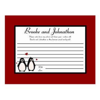 Writable Advice Card Penguin Love Couple Mate for