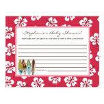 Writable Advice Card Pink Hawaiian Luau Tropical Postcard