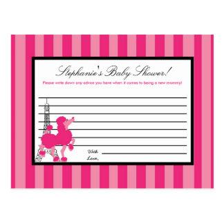 Writable Advice Card Pink Poodle Paris Eiffel