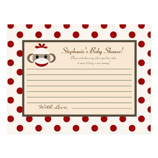 Writable Advice Card Red Sock Monkey