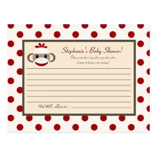 Writable Advice Card Red Sock Monkey Postcard