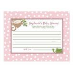 Writable Advice Card  Safari Jungle Animals Pink Postcards