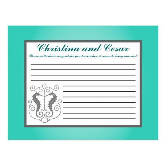 Writable Advice Card Seahorse Anchor Turquoise Bea