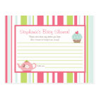 Writable Advice Card Tea Party Pink Pastel Flowers