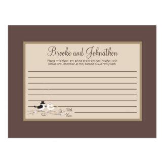 Writable Advice Card Wedding Birds Bride Groom