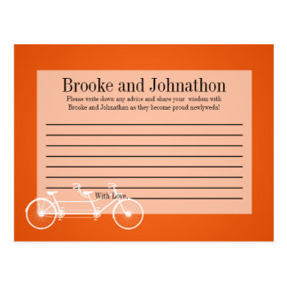 Writable Advice Card Whimsical Orange Double Bike