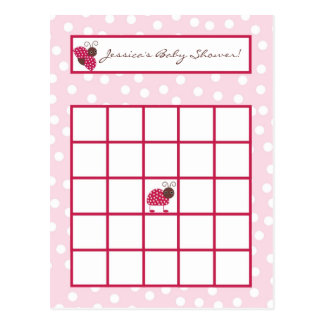 Writable Bingo Card Berry Garden Pink Lady Bug Postcard