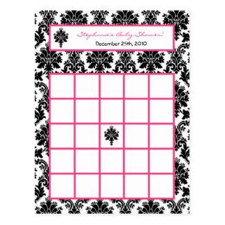 Writable Bingo Card Hot Pink Black Damask