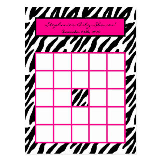 Writable Bingo Card Hot Pink Zebra Print