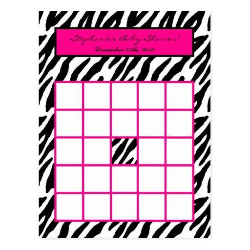 Writable Bingo Card Hot Pink Zebra Print Postcard Zazzle